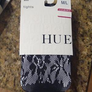 Hue black tights Rose floral openwork, ML, nwt